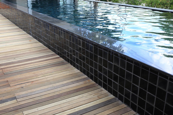 Tiled pool detail closeup