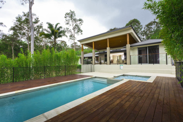 Pool and spa with decking natural